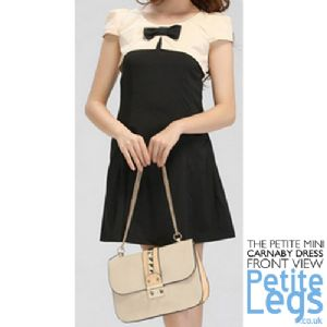 Carnaby Petite Panelled Bow Dress in Black and Cream | UK Size 8-10